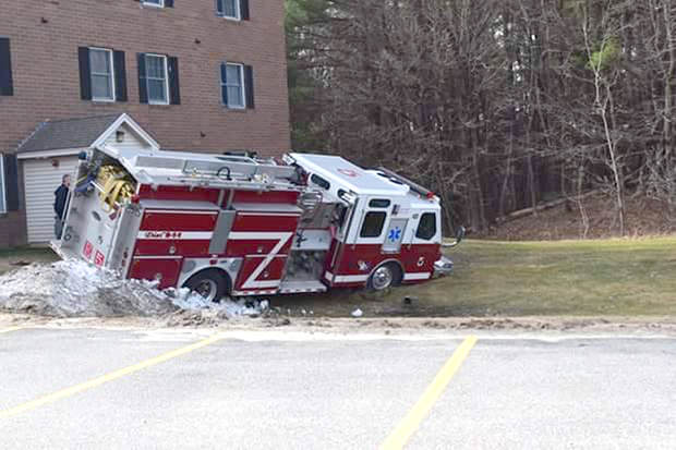 ENGINE ROLLS AWAY WHILE PARKED IN MAINE